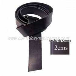 Correa de Cuero de Vaquetilla de 1ª Extra para Cinturón - Color Negro