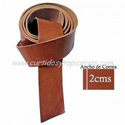 Correa de Cuero de Vaquetilla de 1ª para Cinturón - Color Tostado