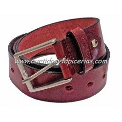 Cinturón de Cuero en 3,5cm de ancho (Color Burdeos)