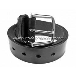 Cinturón de Cuero en 3,5cm de ancho (Color Negro)