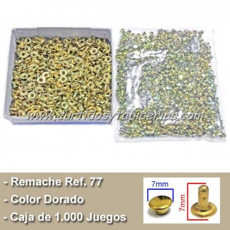 Caja de Remaches Pequeños 2 Piezas Ref. 77 (Macho y Hembra) Color Dorado