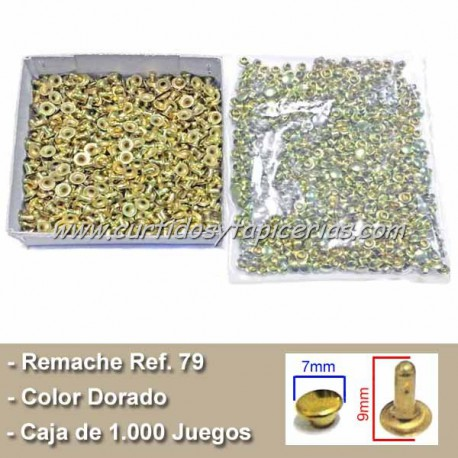 Caja de Remaches Ref. 79 Pequeños - Largos 2 Piezas (Macho y Hembra) Color Dorado